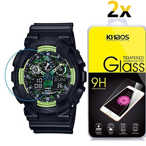 [2Pack] Khaos für Casio GA110Armbanduhr HD Klar Gehärtetem Glas Displayschutzfolie mit Lebenslange Umtausch-Garantie