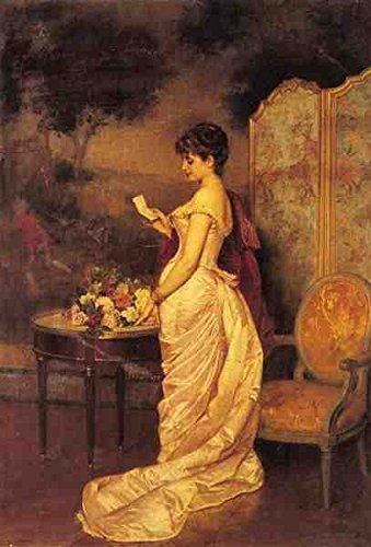 Box Canvas Print (Toulmouche Auguste The Love Letter A3 Box Canvas Print)