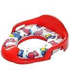 Kinder WC Sitz, Toilettentrainer, gepolsterte Sitzfläche, seitliche Haltegriffe, mit Spritzschutz, leicht zu reinigen (Rot)
