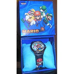 SUPER MARIO WATCH WITH GIFT BOX BLUE STRAP