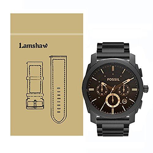 Ceston Edelstahl Metall Classic Ersatz Uhrenarmband für Fossil Herren-Uhren FS4656 (Metall-Schwarz)