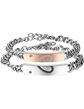 JewelryWe Schmuck 2pcs Herren Damen Armband, Lieben Freundschaftsarmband Valentinstag Geschenke,