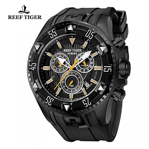 Reef Tiger da uomo sportivo con data in acciaio nero di orologio al quarzo RGA303