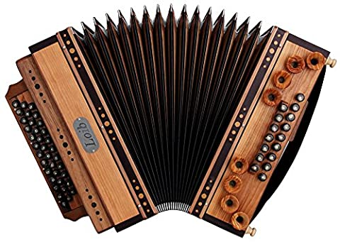 Loib Harmonika IVD Kirsche/Nuss G-C-F-B (46 Diskant, 9 Helikon Bässe,