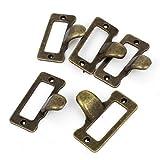 Home Schrank Schublade Tür Tag Stil Pull Griff Bronze Tone 5PCS