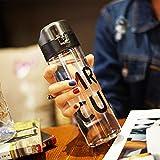LKJH* Kreative aus Kunststoff den Weltpokal Korea Persönlichkeit minimalistischen Paare dicht tragbare Flasche Wasser, Wasserkocher Schüler an ihren Fingerspitzen cups, Blau (500ml)