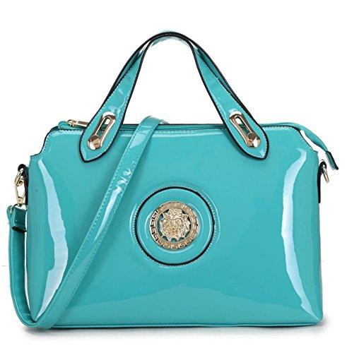 LeahWard® Damen Patent nett Taschen Tote Schultertaschen Handtasche CWKP9300 ACID blau 33 x 13.5 x 21 cm