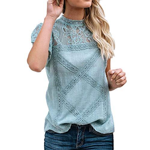 TITIU Damen Spitze Patchwork Flare Rüschen Kurzarm Cute Floral Shirt Bluse Top Oberteil(Grün,M)