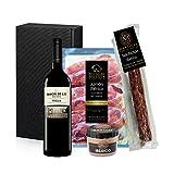 Geschenkkorb- Präsentkorb Spanien Tapas Ibéricas, Iberische produkte, rotwein Reserva Baron de Ley Rioja