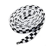Love Laces 10mm FLAT WIDE 110cm CHEQUERED SHOE LACES 13 COLOURS TRAINERS CHECKERED LACE FREE UK POSTAGE (White/Black - #495)
