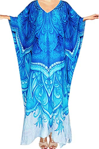L-Peach Damen Blumendruck Kaftan Langes Kleid Strandkleid Pareo Cover ups One Size