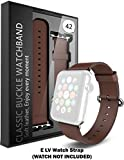#7: ELV Apple Watch 42MM - Strap Band High Quality Premium Strap Band Accessories (BROWN)