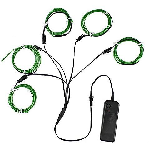 Alambre electroluminiscente (EL Wire) Splitter 5 X 1 Metros Resplandeciente efecto estroboscópico Neon Light Set (Verde)