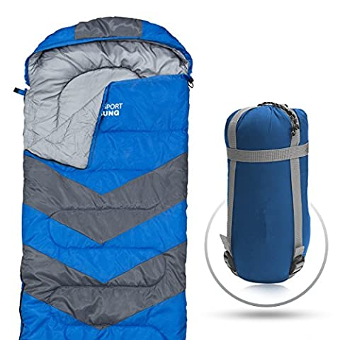 Sleeping Bag - Envelope Lightweight Portable, Waterproof, Comfort With Compression Sack - Great For 4 Season Traveling, Camping, Hiking, & Outdoor Activities. (SINGLE) by Abco