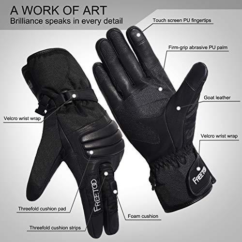 FREETOO Verstärkte Taktische Handschuhe mit PU-Leder + Nylon Design-Ideen für Fahrradfahren, Schießen, Fahren und andere Outdoor-Aktivitäten (Schwarz) - 5