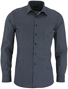 Eterna Herrenhemd Herren Hemd Businesshemd Freizeithemd Baumwolle Baumwollhemd Langarm Slim Fit Blau