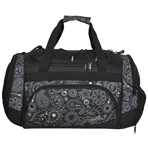 KEANU Die durchdachte Sporttasche (50 x 29 x 28 cm Fitness Yoga Sauna mit XL Getränkenetz :: Grosse multifunktionale Tasche für Gym Sport Sauna Reise Wellness :: Reisetasche - Auswahl (Cream Paisley)