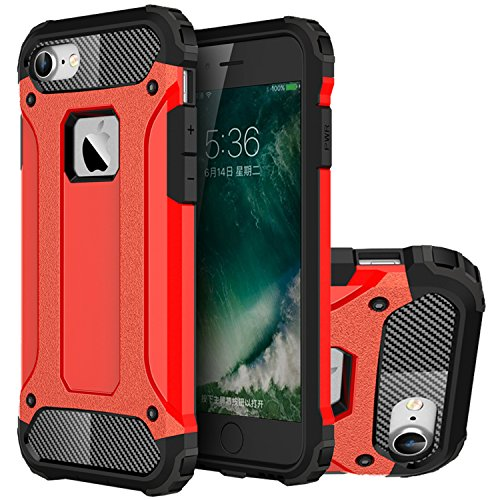 iPhone 7 Hülle, HICASER Hybrid Dual Layer Rugged Heavy Duty Defender Case [Shock Proof] Drop Resistance TPU +PC Handytasche Schutzhülle für Apple iPhone 7 4.7-inch Silber Rot