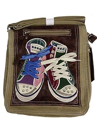 DAVID D. 007 Umhängetasche mit Chucks, crossbag, 25x28x8cm beige khaki