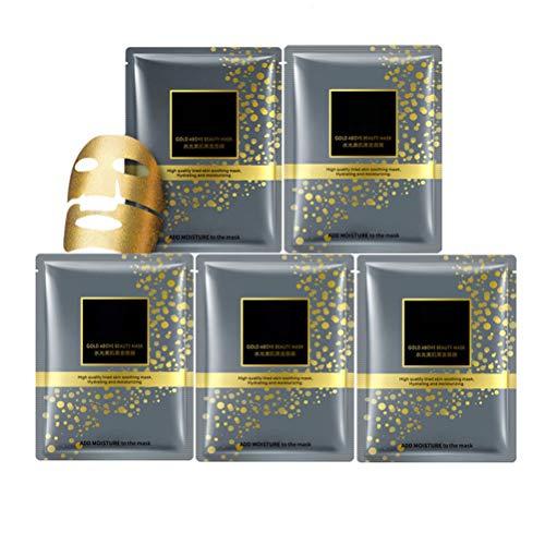Einsgut 5 Stücke Collagen Maske Gesicht Gold Gesichtsmaske Essenz Anti Aging Falten Feuchtigkeitsspendende Feuchtigkeitsspendende Haut Gesichtspflege -