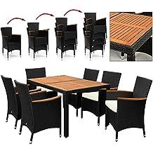 Salon de jardin polyrotin extérieur meubles ensemble Table 6 chaises noir bois