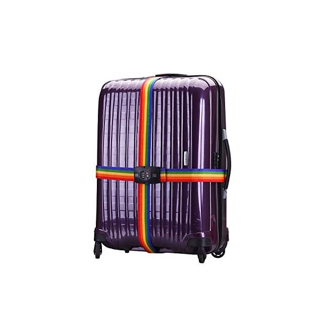 tinxi® TSA Serrure Verrouillage des douanes Bagage Cadena Cross Sangle avec verrouillage à 3 chiffres pour bagages Bagages Sangles avec serrure à combinaison(Multicolores)