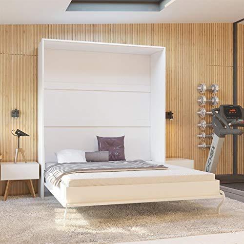Schrankbett 160×200 cm vertikal Weiß Hochglanzfront MDF mit Gasdruckfedern, ideal als Gästebett – Wandbett, Schrank mit integriertem Klappbett, SMARTBett - 3