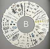 Benfa Temporär Tätowierun 30 Blätter Kleine Größe Tattoo-Body-Aufkleber Für Man & Frauen Wasserdicht Absetzbare Nicht-Toxik & Sicher Für Alle Haut,B