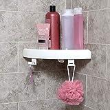 Shop Story - Mensola angolare con pulsante a pressione, senza forare, 24,5 x 4,5 x 24,5 cm, per bagno e altri
