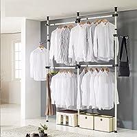 Perchero para ropa, 3 varillas, 4 barras de acero resistente, ajustable, barra para ropa, 281 – 329 cm de altura y 80 – 139 cm de ancho, soporte por barra 60 kg