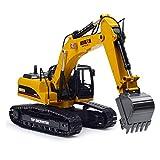 SHZJ Telecomando per Adulti E per Adulti Escavatore Professionale Modello 1:14 2.4G Pieno di Lega 23CH in Metallo Pressofuso off Road RC Escavatore Idraulico con Funzione di Fumo