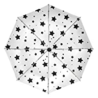 COOSUN Twinkle Stars Pattern Automatic 3 Folding Parasol Sun Protection Anti-UV Umbrella for Women