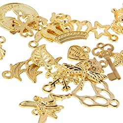20 Mixed Style Heart DIY Charms Jewelry Findings Pendant Beads Crafts Making - gold