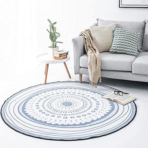 Gute Teppiche The Harvest Season- Nordic Wind blau kleine frische runde Decke, Wohnzimmer Korbauflage, Studie Drehkreuz Decke, Nachttischdecke (Farbe : Weiß, größe : 100cm)