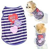Saingace Fashion Pet Puppy Summer Shirt Small Dog Cat Pet Clothes Stripe Vest T Shirt Costumes (XS, Purple)