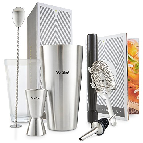 VonShef Set shaker per cocktail Boston in acciaio inox luxury in confezione regalo con libro di ricette e accessori