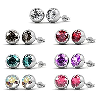 FunkyTop Damen Silber Ohrstecker Set Ohrring Ohrstecker für Frauen mit Kristallen aus Swarovski 18K Weißes Gold überzogen Set von 7 Paaren (Runde Lünette)