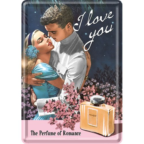 Nostalgic-Art 10103 Say it 50's I Love You Perfume, Blechpostkarte, 10 x 14 cm