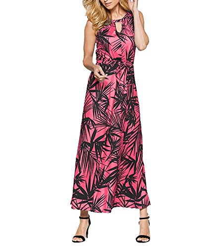 CoCo Fashion Damen Sommerkleid Ärmellos Bohemian Style Maxikleid im modischen Ethno-Look (EU L, Z610_Rot) (Style Röcke Bohemian)