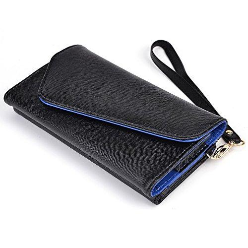 Kroo d'embrayage portefeuille avec dragonne et sangle bandoulière pour Archos 50C Oxygen Black and Green Black and Blue