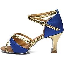 HIPPOSEUS Zapatos de la danza de salón de baile/Zapatos de baile/Zapatos latinos de el satén mujeres,ES217-5,Rojo Oscuro,EU 37.5