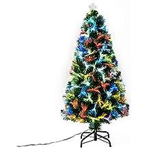 079b0748c4e HomCom Arbol de Navidad Altura 120 cm + Estrella y Fibra Optica de 7  Colores Arboles