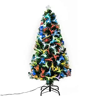 HOMCOM Arbol de Navidad Φ84 x 180cm Arbol de Fibra Optica con 230 Luces LED Verde Nuevo