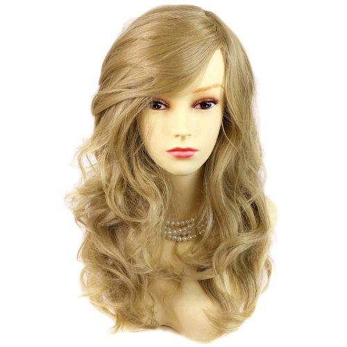 Perruque Magnifique Noir Blond Doré Longue et Bouclée Résistante à la chaleur