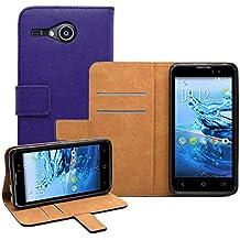 Membrane - Morado Cartera Funda Carcasa para Acer Liquid Z520 - Wallet Case Cover + 2 Protector de Pantalla