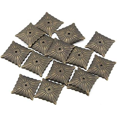 eMylo® 21x21mm bronzo antico Quartetto Nailhead Tappezzeria chiodi / chiodi decorativi Nails Puntina tamburo Nail Confezione da 50