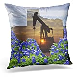 XLABDZ Throw Pillow Cover Western Texas Oil Pump Jack and Bluebonnets Landscape Decorative Pillow Case Home Decor Square 18 x 18 Inch Pillowcase