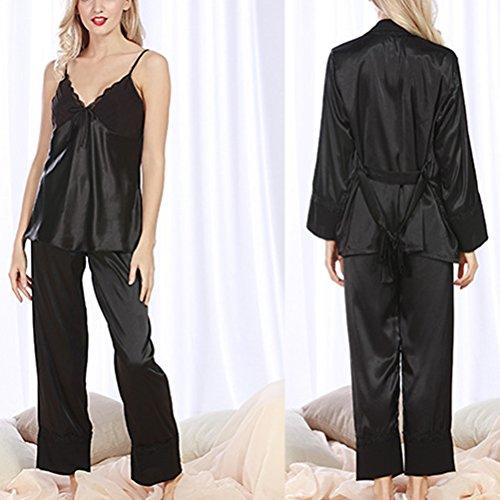 Zhhlinyuan Fashion Sleepwear Nightwear Satin and Chiffon Ladies Pyjamas Set Black