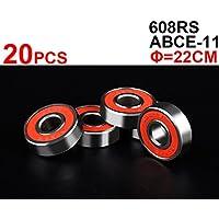 20 piezas ABEC-5 608RS 608ZZ- Rodillo de skate para patinete de 8 mm (fundas rojas)