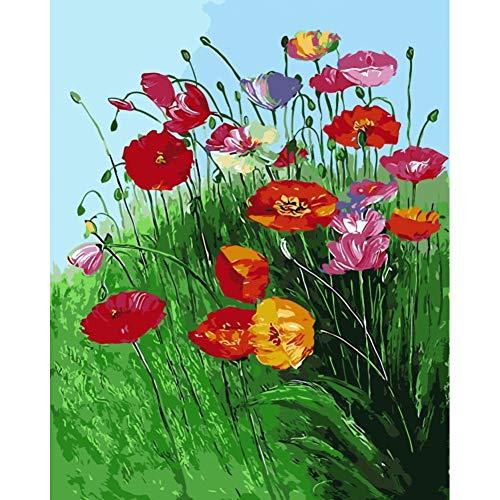 ERQINGSZH Digitale Malerei Rote Blume Mit Grünen Blättern Ölgemälde Bild Nach Zahlen Handarbeit Zeichnung Färbung Durch Zahlen Raumdekoration DIY Wandkunst